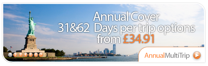 Annual Cover from just £31.04 - choose 31-60 days per trip